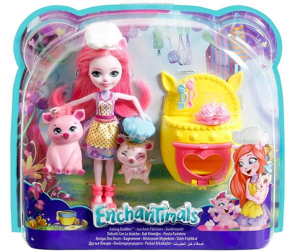 Enchantimals набор с куклой Петей и поросятами.