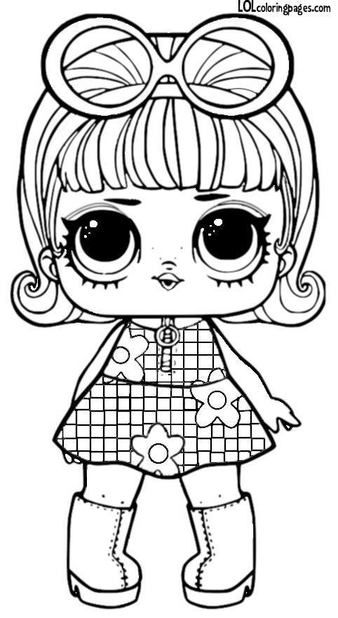 раскраски Lol и чёрно белые картинки с куклами лол конфетти