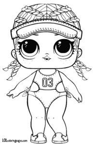 Раскраска куклы ЛОЛ с косичками.