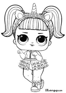 Кукла ЛОЛ в костюме единорога раскраска.