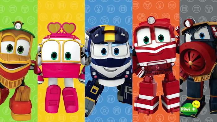 Все главные герои из мультика про поезда-трансформеры.