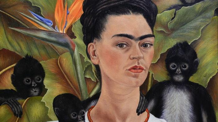 Автопортрет Фриды с обезьянами.