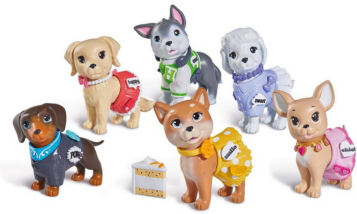 Пластмассовые фигурки собачек.