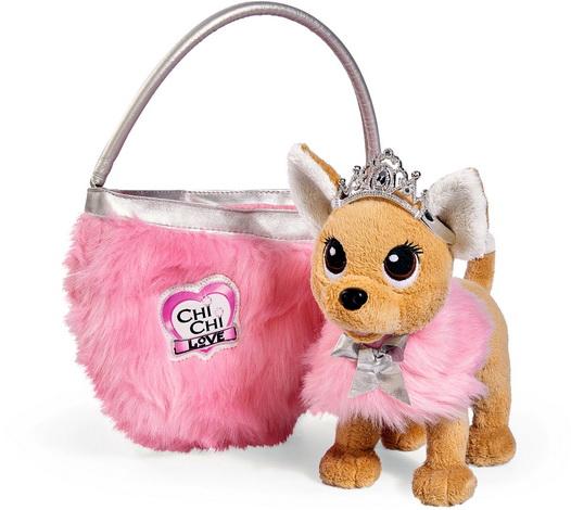 Принцесса собака в короне и розовых мехах.