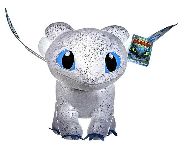 Светящая в темноте игрушка белый дракон, подруга Беззубика.