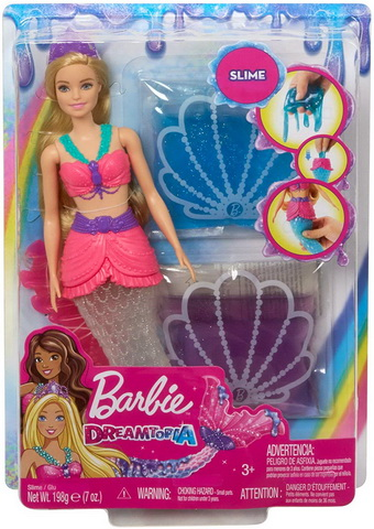 Barbie Dreamtopia Slime Mermaid Doll with 2 Slime Packets.